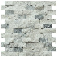 Silver Split Face Travertine Mosaic Tiles 1x2 - Natural ...
