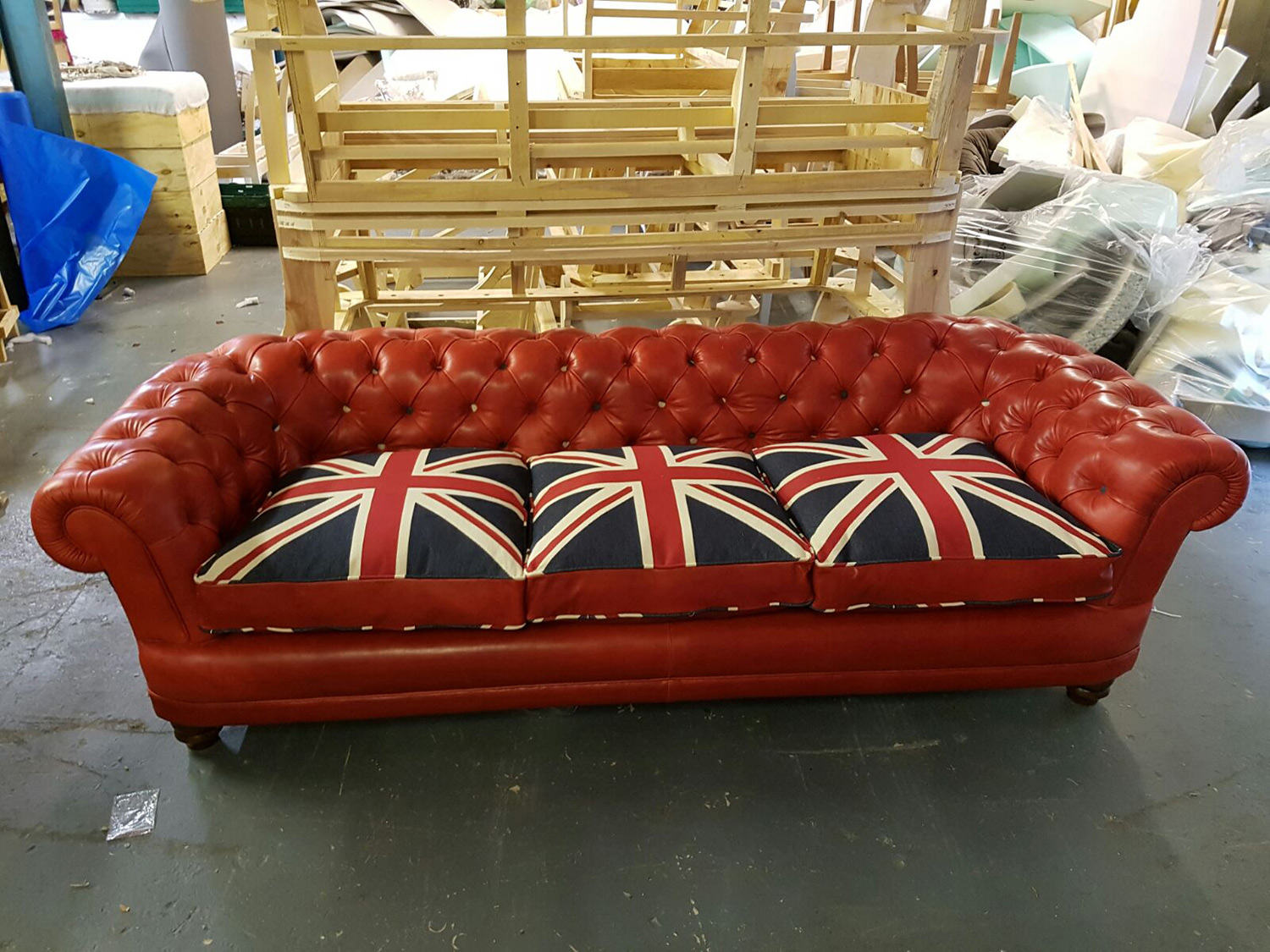 Chesterfield Sofa And Chair Red Union Jack Leather Chesterfield Sofa Aged To Perefction