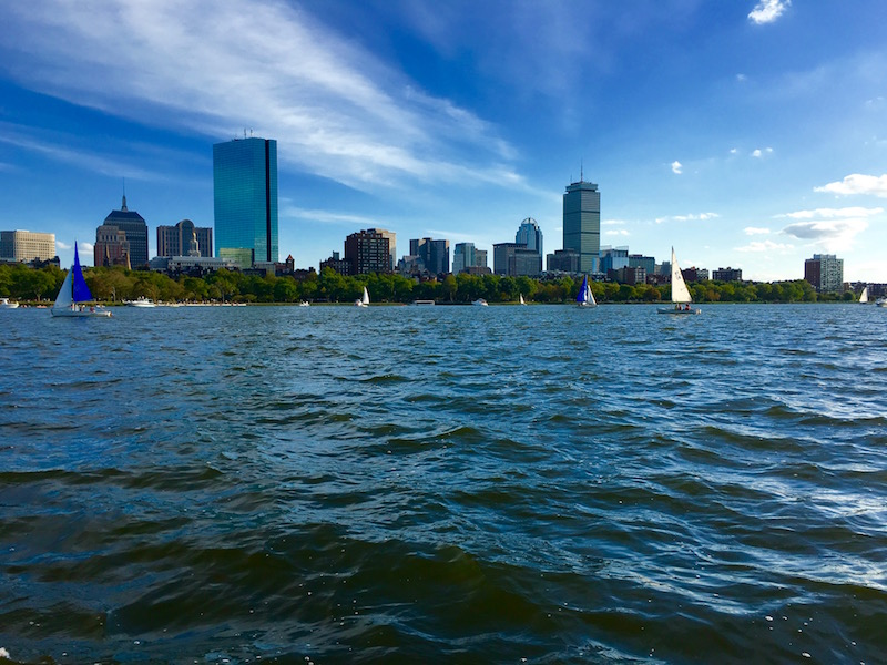 Boston skyline from a duck boat tour on Boston Harbor