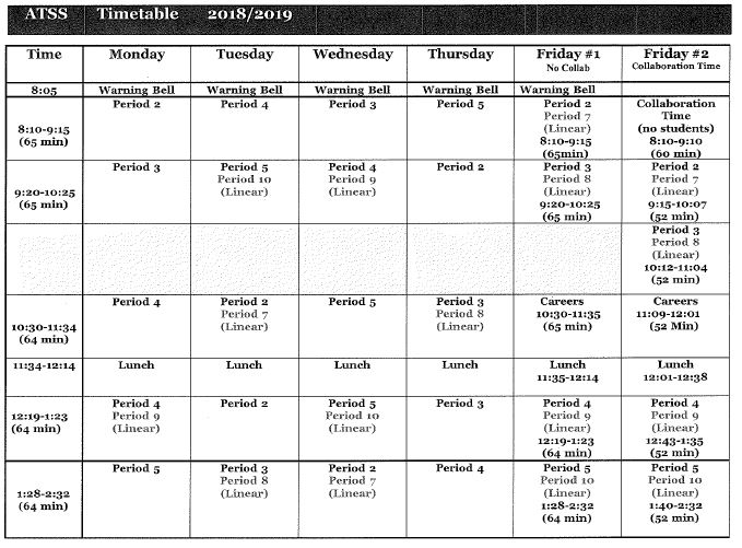 Daily Schedule Abbotsford Traditional Secondary