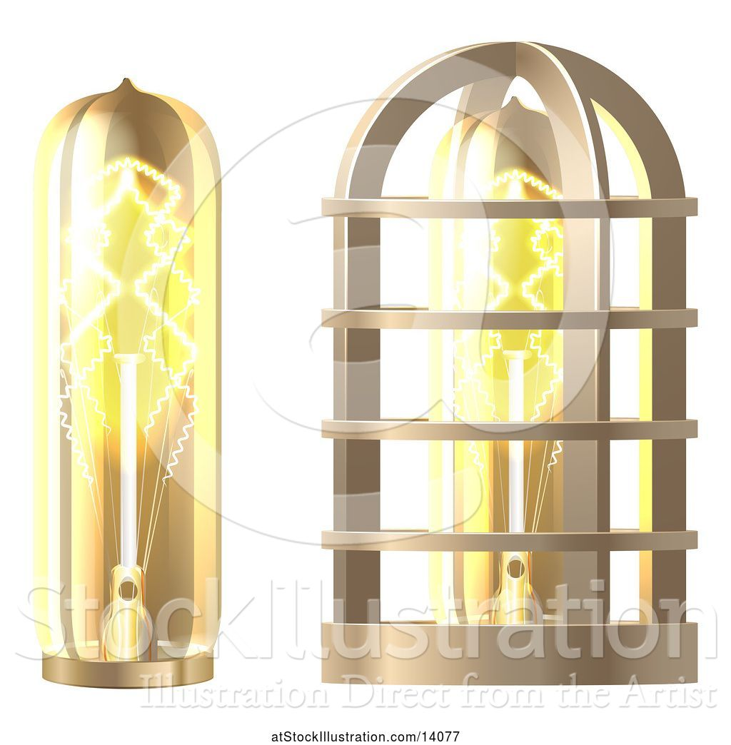 Glass Lamp Vector Vector Illustration Of 3d Vintage Steampunk Electric Light