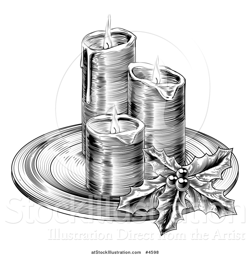 Christmas Candle Black And White Vector Illustration Of A Black And White Engraving Of