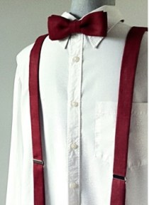 Burgundy bow tie and suspenders