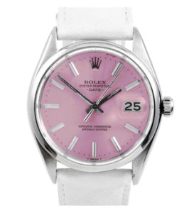 Rolex Men's Stainless Steel Date Model Watch - With Pink Stick Dial - Smooth Bezel - White Leather Strap