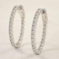 14K White Gold Diamond Hoop Earrings - Attos Antique ...