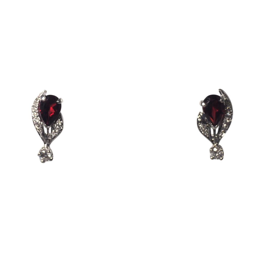 14k White Gold Garnet and Diamond Earrings