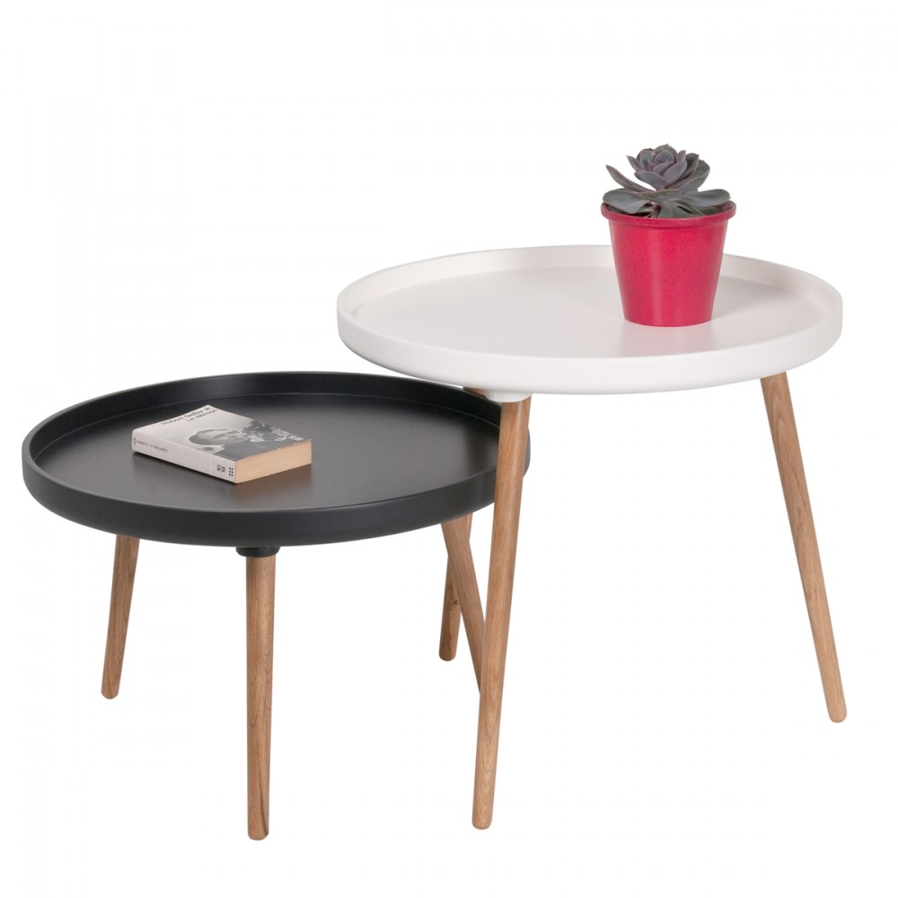 Tables Basses Rondes Gigognes Table Basse Gigogne Coloris Blanc Noir Atwebster Fr Maison
