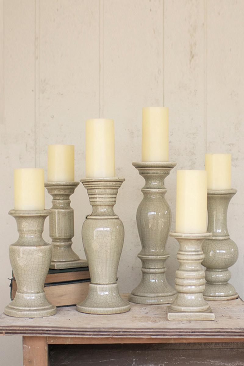 Fall Living Room Decor Set Of 6 Grey Ceramic Candle Holders
