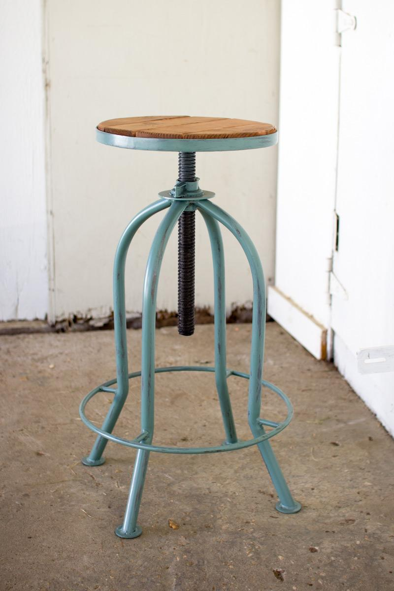 Table And Bar Stools Adjustable Bar Stool With Recycled Wood Industrial Blue Finish