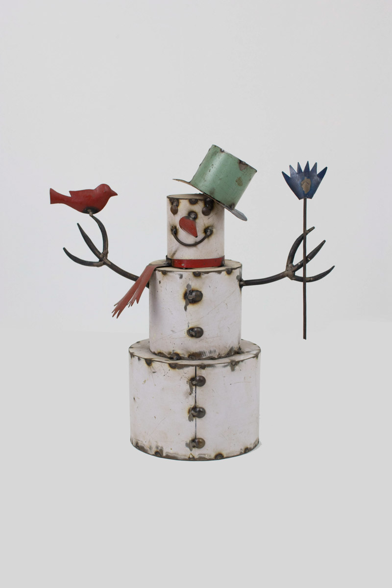 Fall Living Room Decor Recycled Painted Iron Snowman With Bird