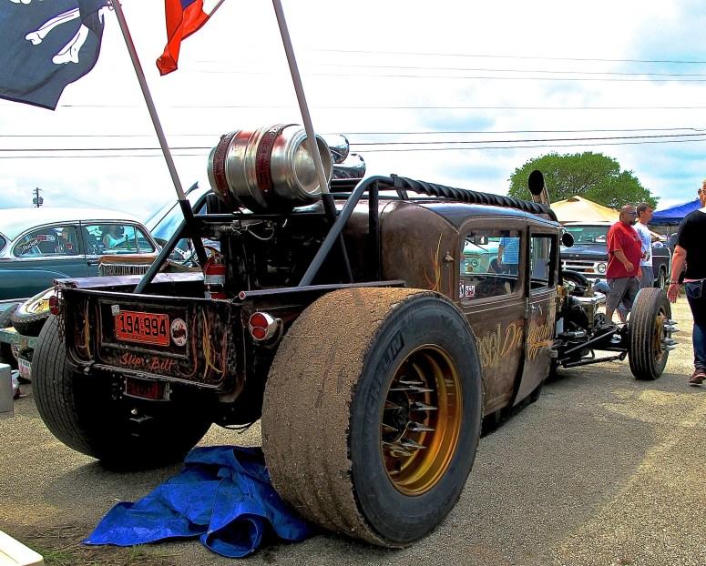 Diesel Rat Rod truck at Lonestar Round Up, Austin TX rear view