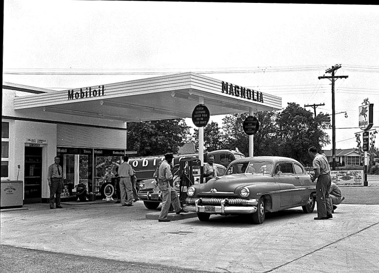 Helmer Johnson's Magnolia Mobil service station at 2901 Cherrywood Road. Studebaker Mercury