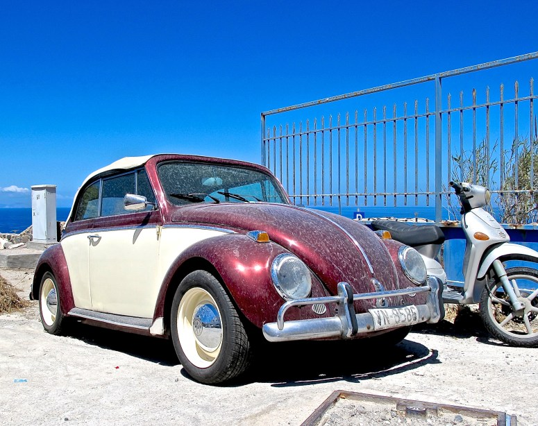Classic VW convertible in Santorini, Greece