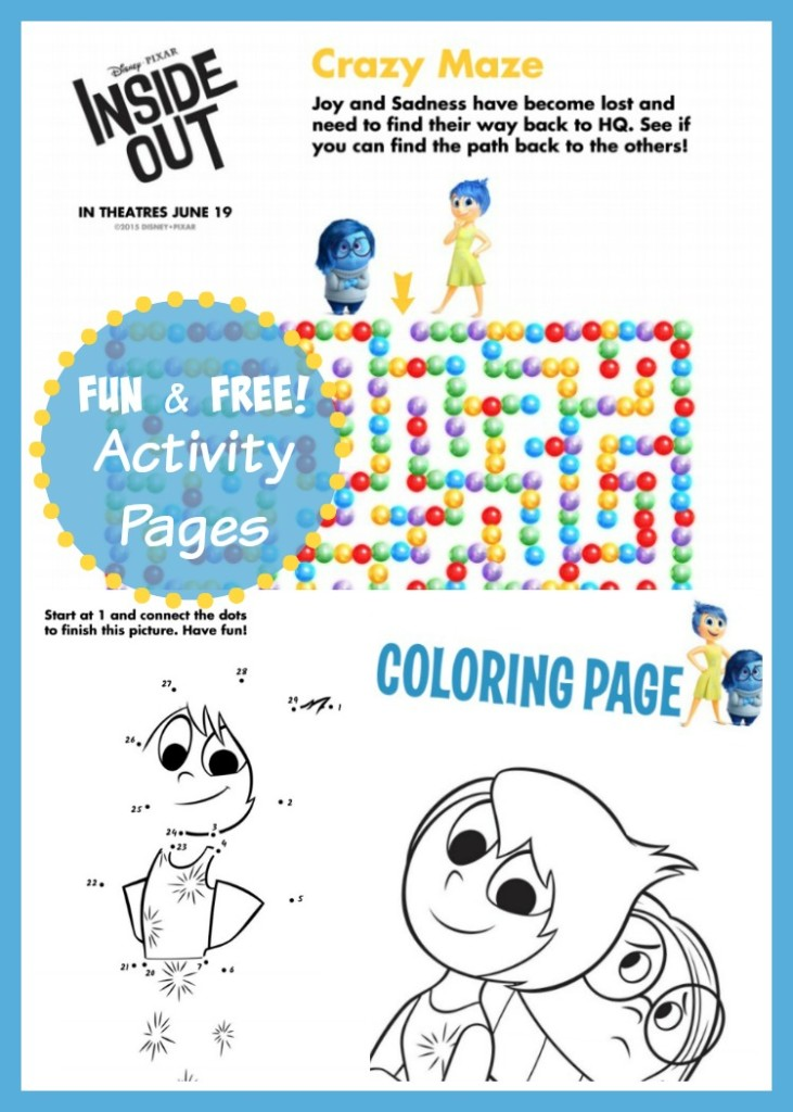 Disney Pixar Inside Out Coloring & Activity Pages
