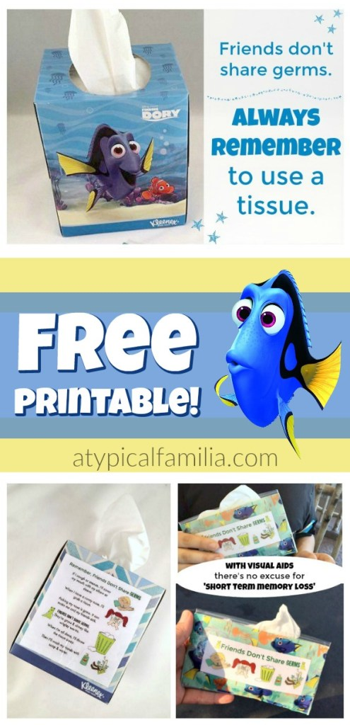 Free Printable Visual Aid for Using Tissues and Blowing Your Nose for Kids with autism via Atypical Familia by Lisa Quinones Fontanez