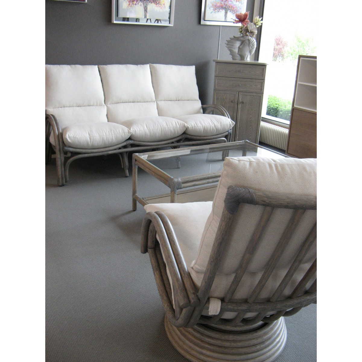 Salon 3 Places 2 Fauteuils Salon Leeds Gris