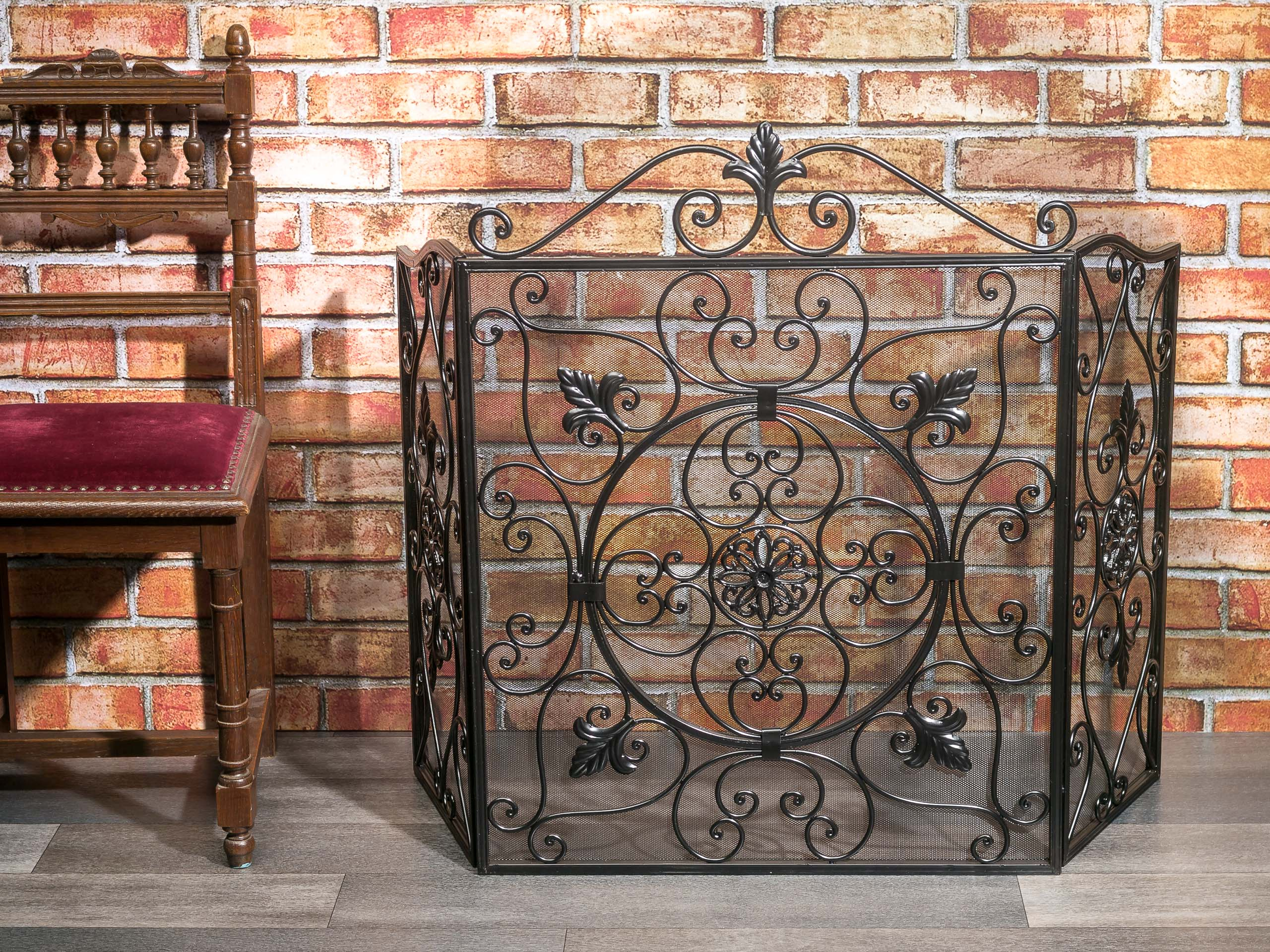 Antik Metall Fireplace Spark Guard Fleur De Lis Iron Fire Place Screen Antique Style