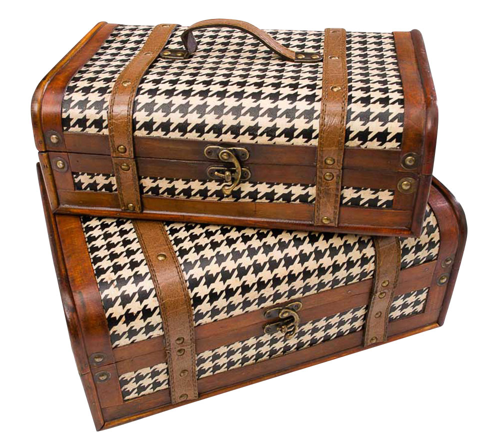 Kisten Aus Holz Set Of 2 Beautiful Chests Patterned In A Vintage Style Wood