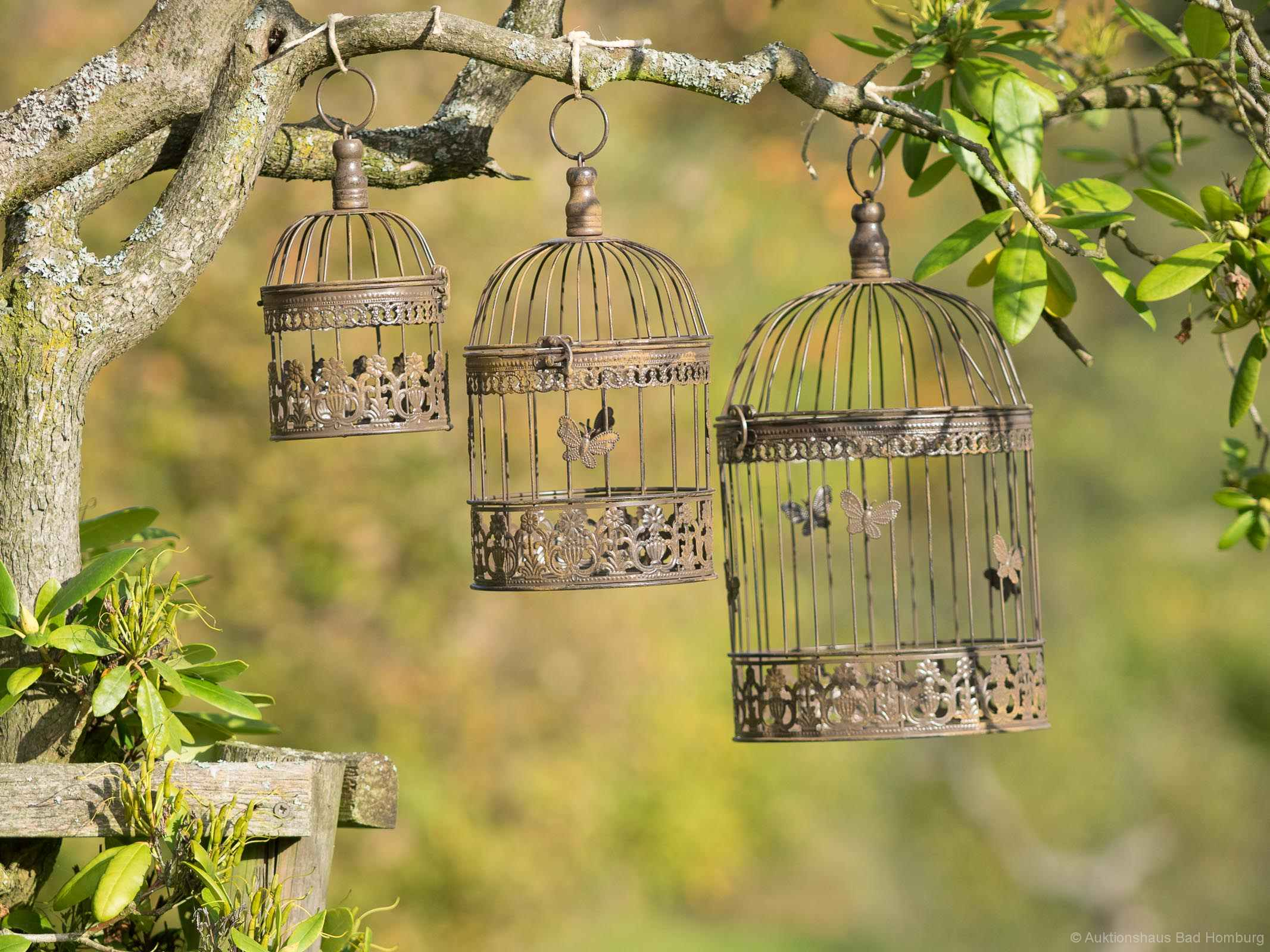 Bad Vintage Style Decorative Bird Cage Vintage Style Set Of 3 Wrought Iron Brown
