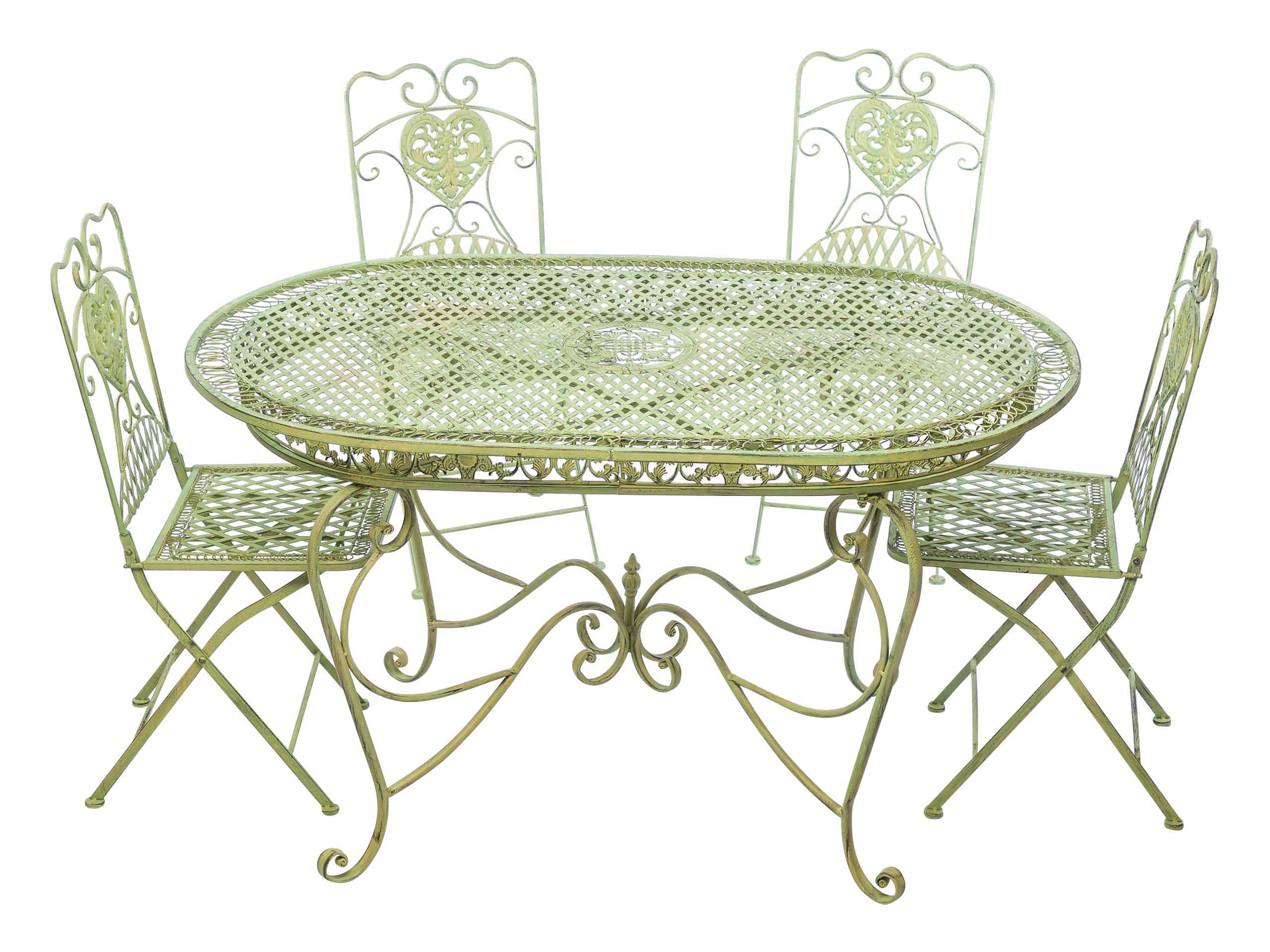 Grüne Küchenstühle Set Garden Table 4 Chairs Green Iron Garden Furniture Chair Antiquestyle