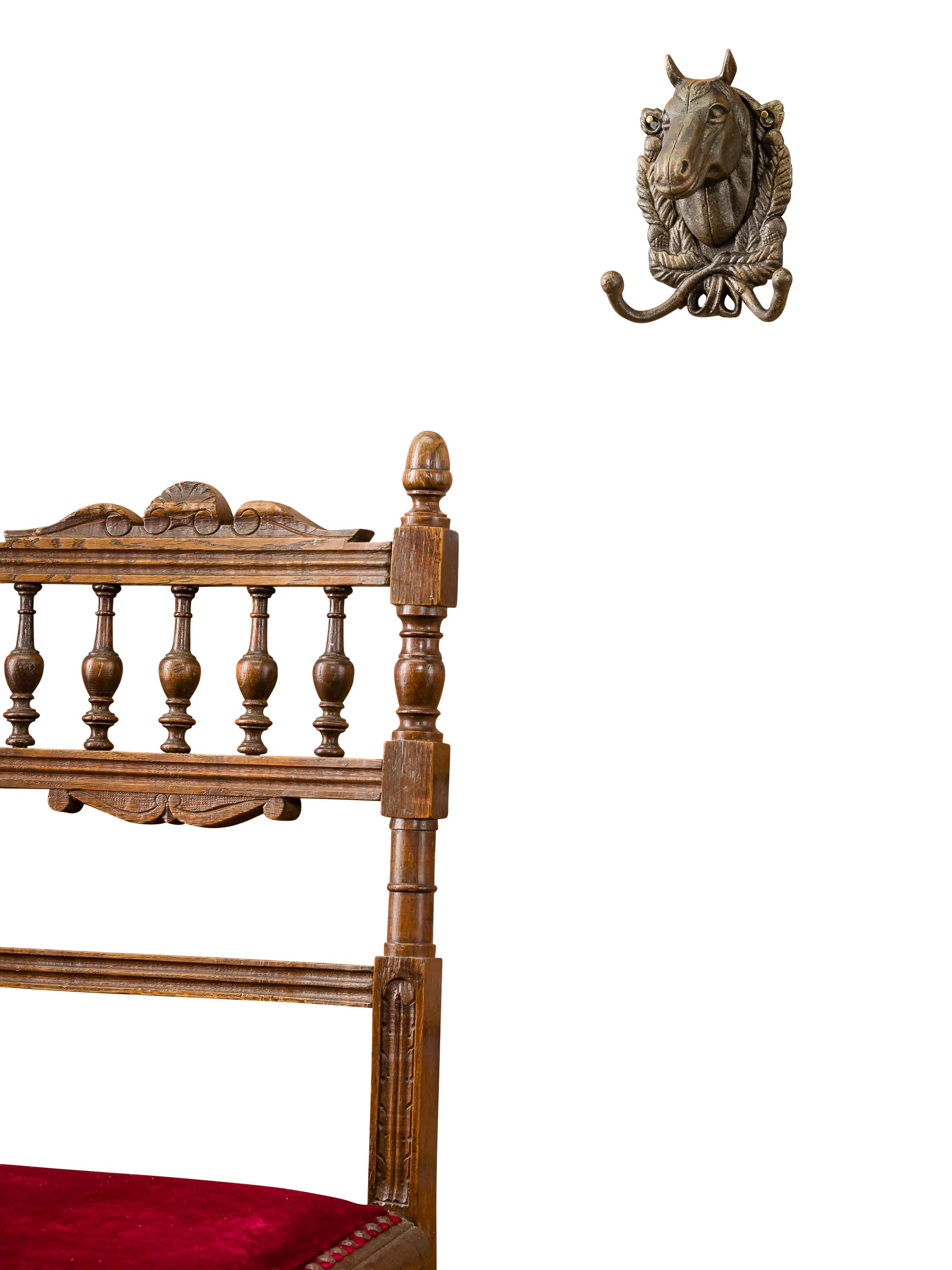Wandgarderobe Garderobe Wandgarderobe Horse Wardrobe Towel Rack Iron Antique Style Brown Iron Horse