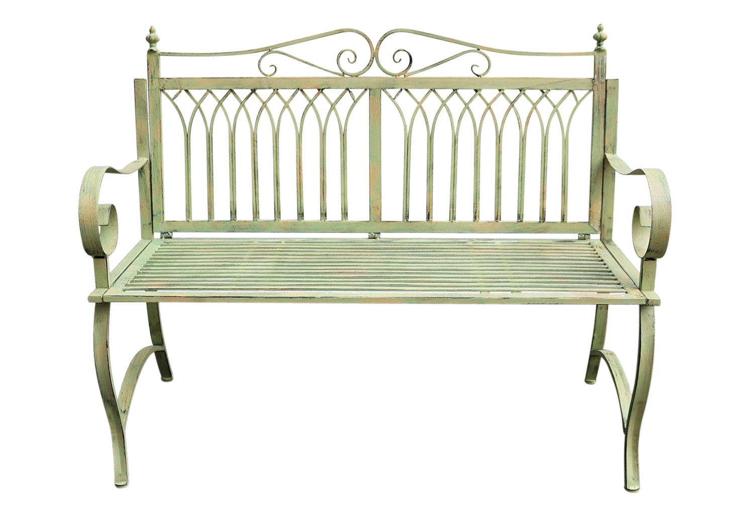 Gartenmetall.de Antique Style Garden Bench Metal Iron Green Furniture Park Nostalgic 119x95cm