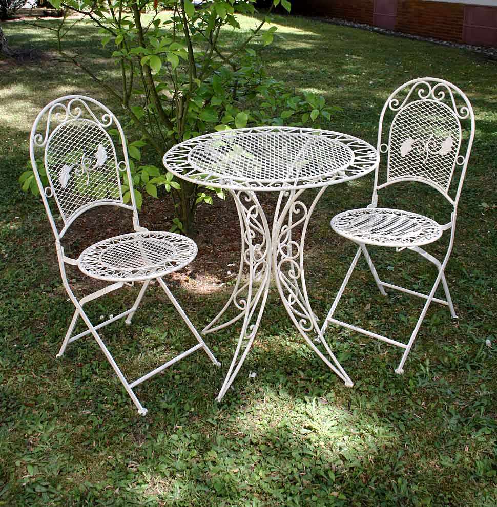 Gartentisch Mit Stühle Vintage Garden Furniture Set Table 2 Chairs Wrought Iron Cream White
