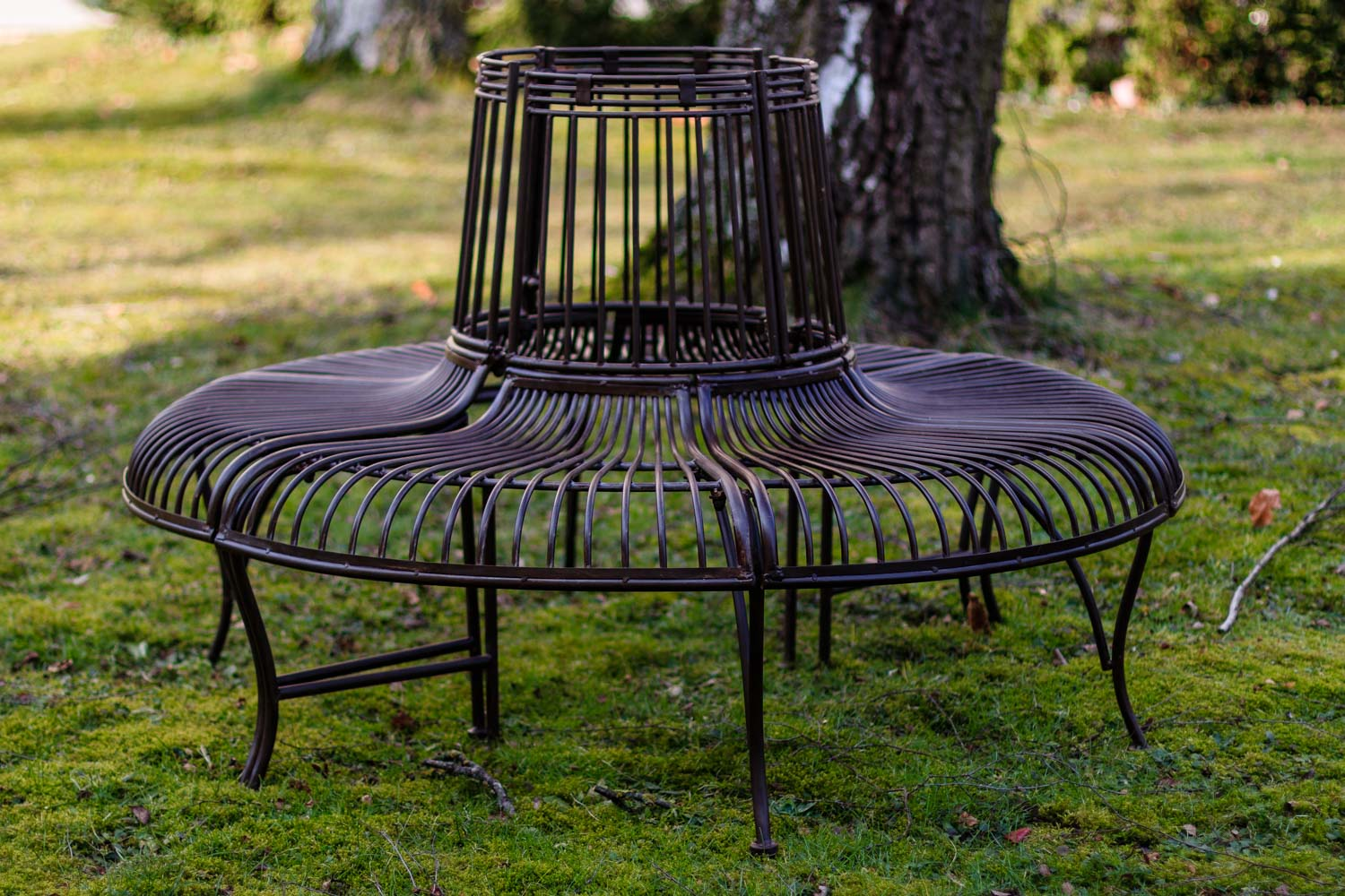 Gartenmetall.de Antique Style Garden Tree Bench Set Metal Iron Brown Furniture Park Nostalgic