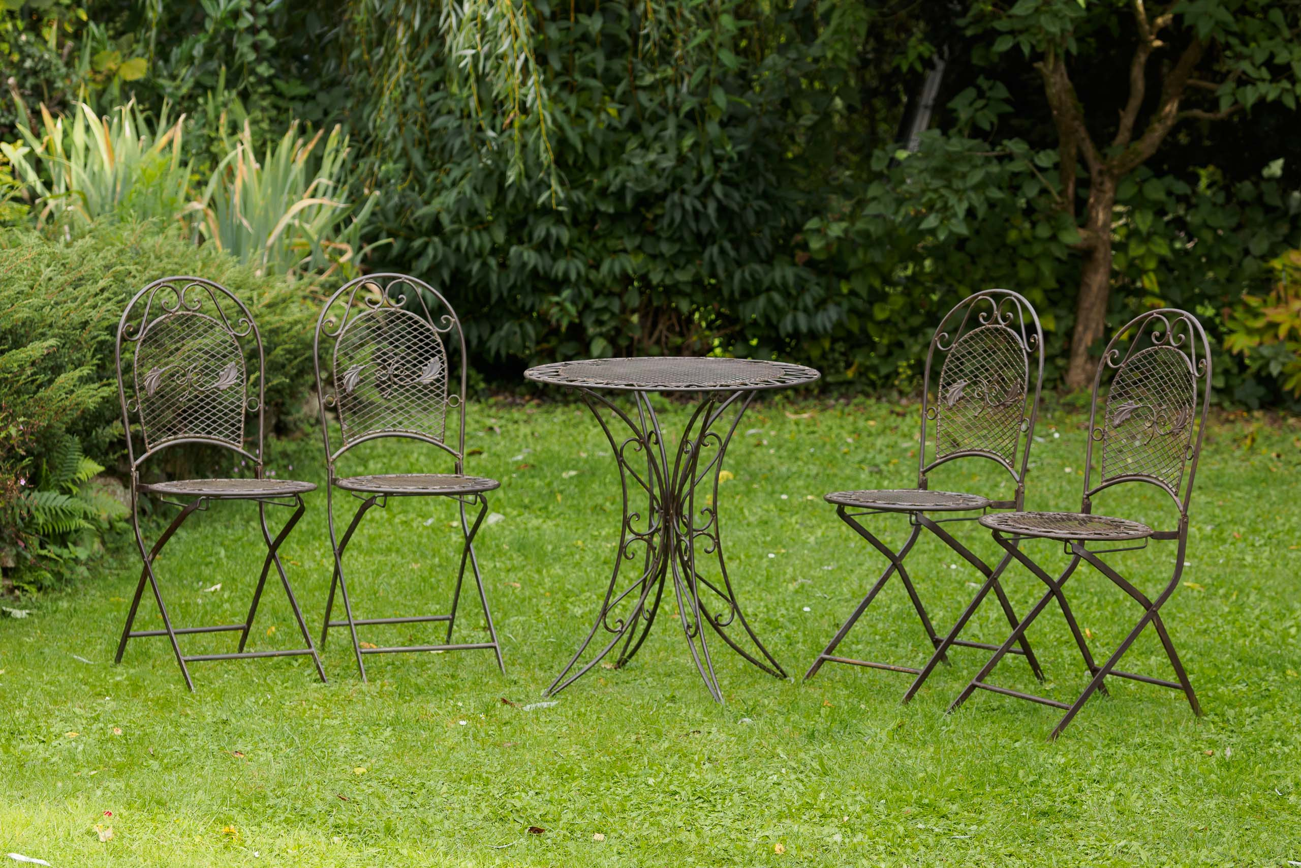 Gartentisch Mit Stühle Kit Garden Table 4 Chairs Iron Schmiedeeisen Garden Furniture Antiquestyle Brown