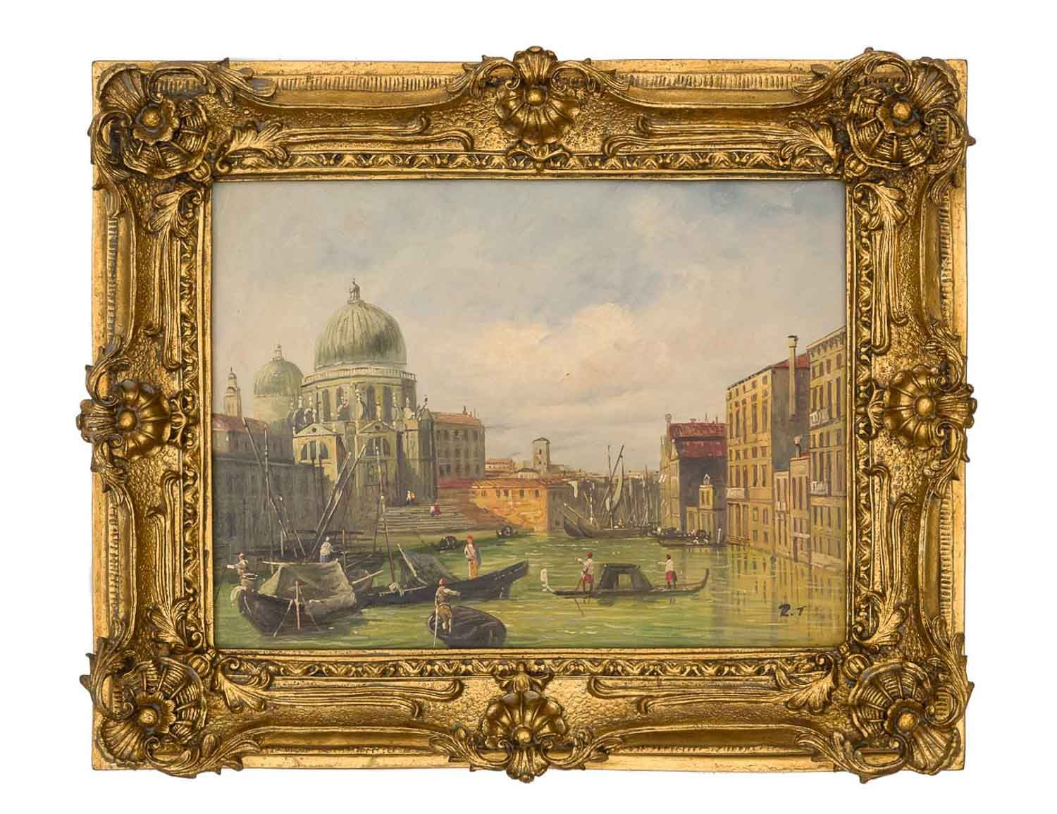 Furniture Stores Santa Maria Oil Painting Venice Italy Santa Maria Church Antique