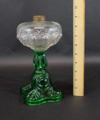 Antique 19thC Green & Clear EAPG Pattern Glass Kerosene ...