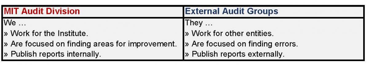 External Audit Groups MIT Audit Division