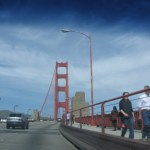 A view from the car of the famous Golden Gate bridge.