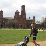 The boys running by the Smithsonian Castle.