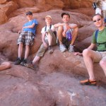 The crew resting in the shade at Arches