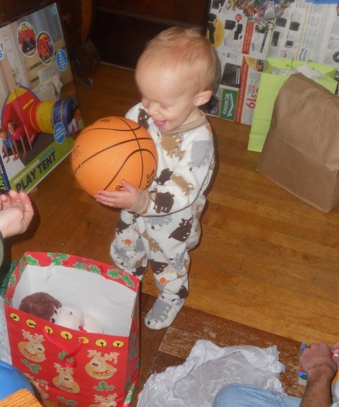 Cooper was so excited when he discovered there was a basketball in this bag. He didn't even care about pulling out the rest of the stuff.
