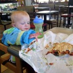 The ever hungry baby at our stop in Laramie.