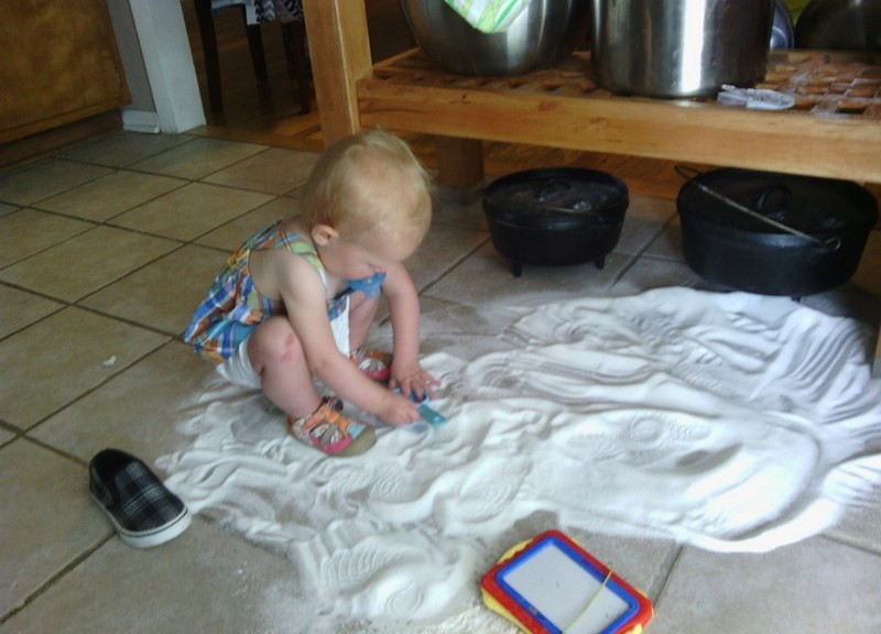 The time Ellen dumped 5 lbs of sugar on the floor while I was doing laundry.