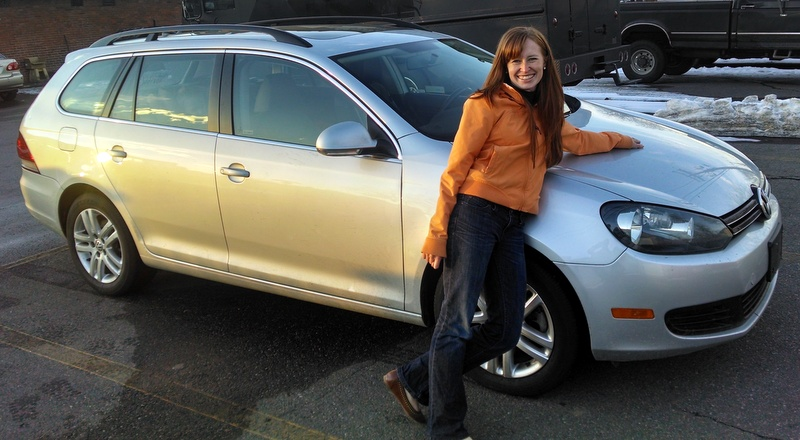 The price is right: Audrey looking good in front our new ride.