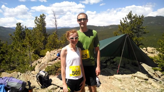 Us at the top of Windy Peak happy to have our hardest climbs behind us.