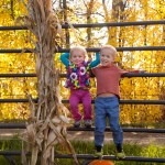 The kids at the pumpkin patch.