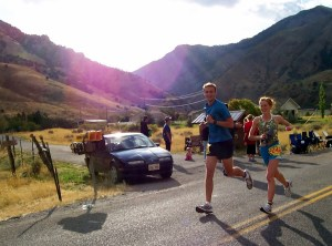 Noel and I halfway through our second marathon.