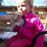 Ellen enjoyed her free birthday ice cream cone.