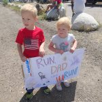 The kids helped make this sign for Noel when he did the Colorado Ragnar Relay.