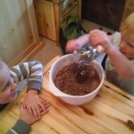 We made cookies while listening to conference, but greatly missed our kitchenaid back at home.