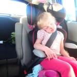The unikitty asleep in the car.