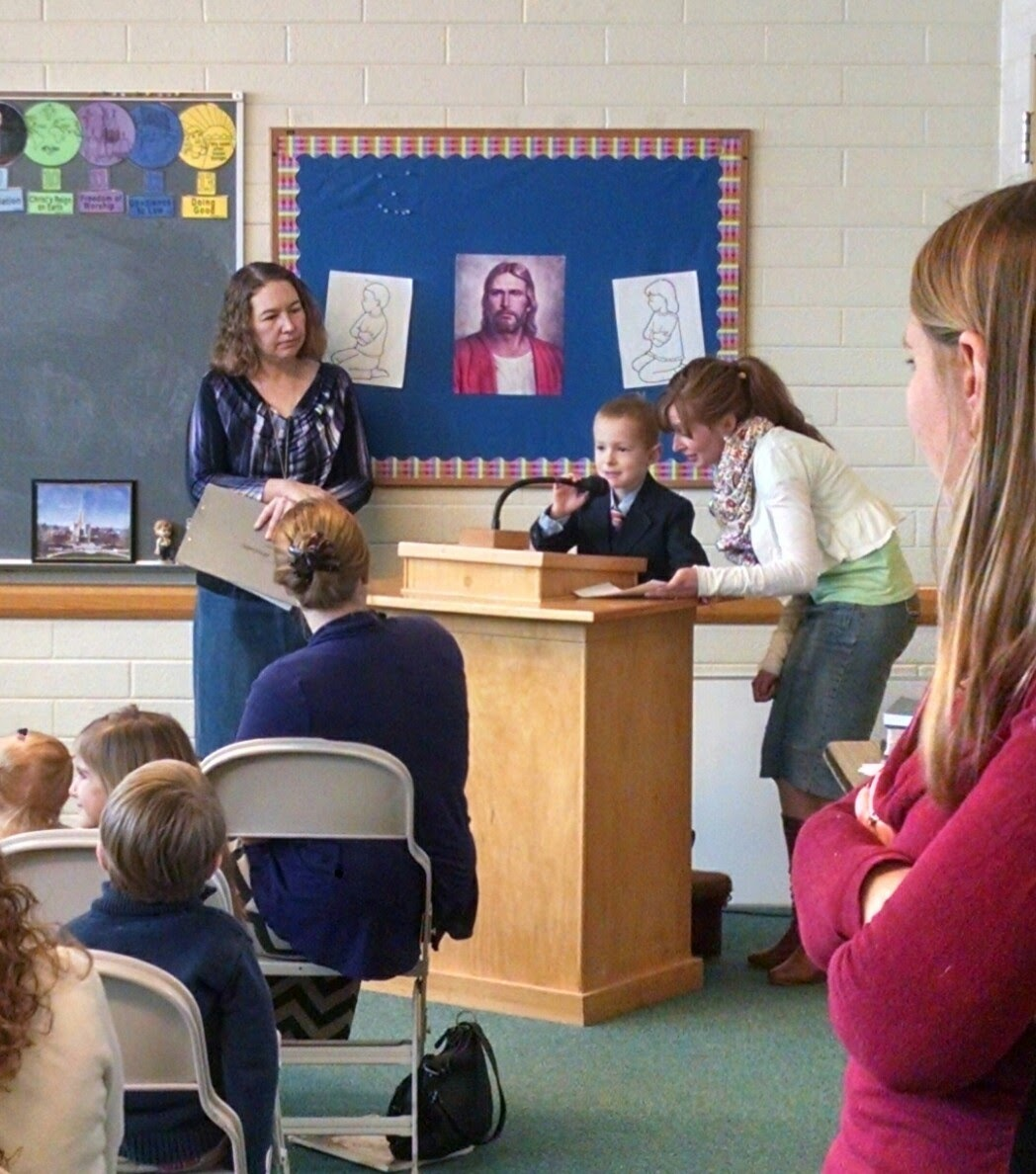 Cooper gave his first Primary talk. (Ellen also read her first scripture later in the month, but three words in she burst into tears and dropped to the ground, hence the lack of photographic evidence.)