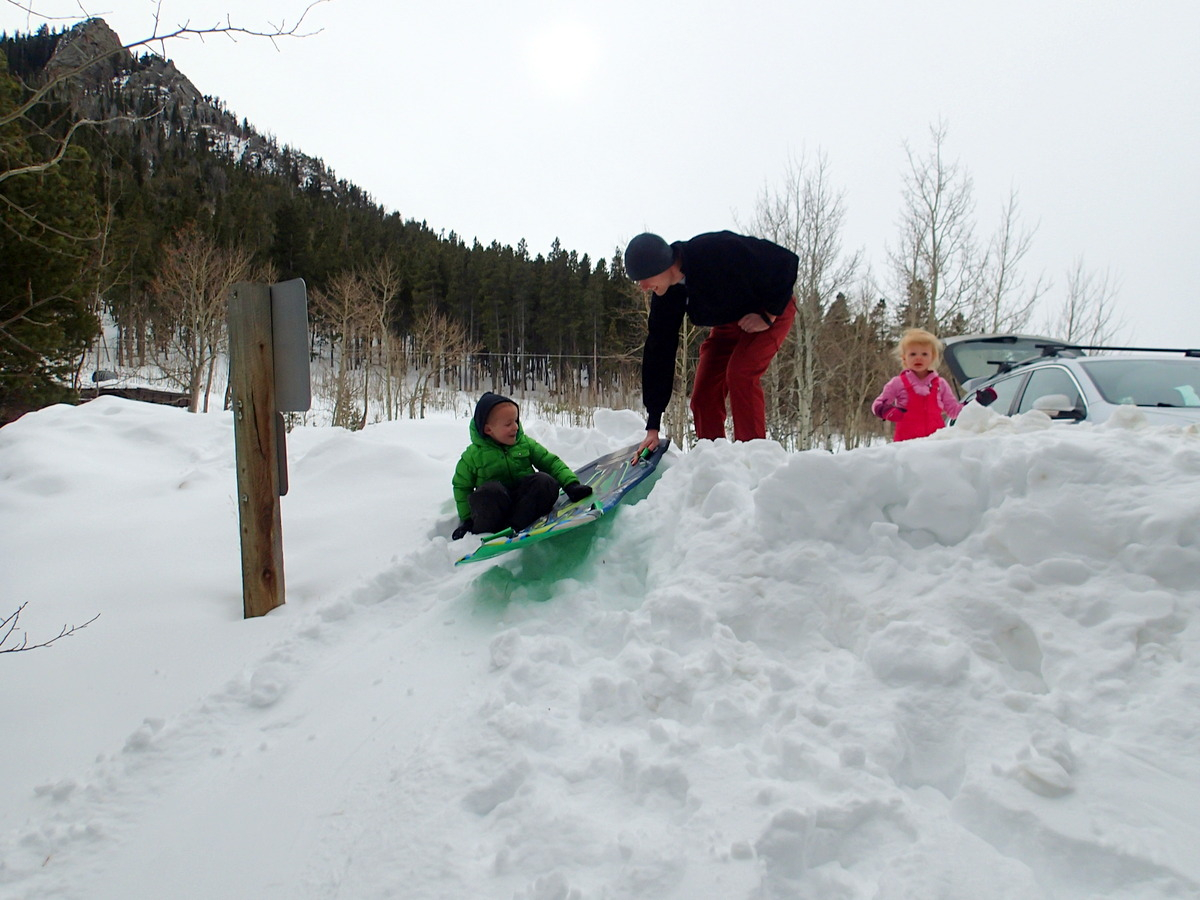 Sledding into our picnic site.