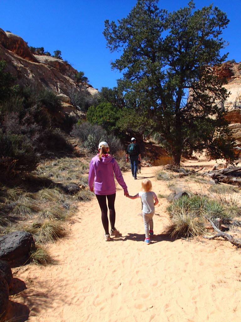 Ellen hiking with Grandma Cindy.