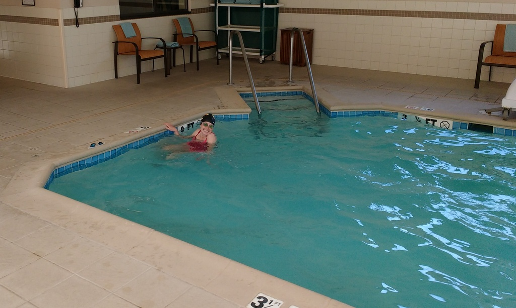 Trying to get a few laps in at the pool.
